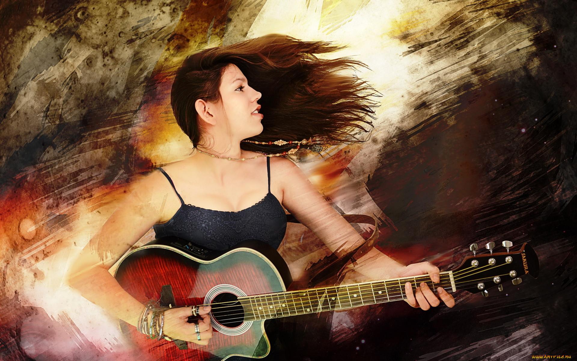 Красивая одна девушка с гитарой фото